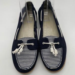 Toms nautical style boat shoes navy and white